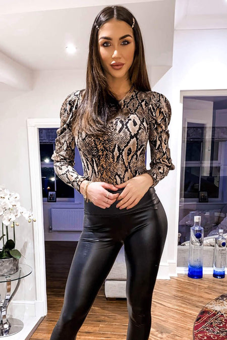 Animal Print One Sleeve Bodysuit