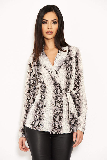 Black Chain Print Wrap Top