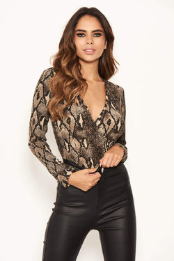Snake Print Cross Over Bodysuit