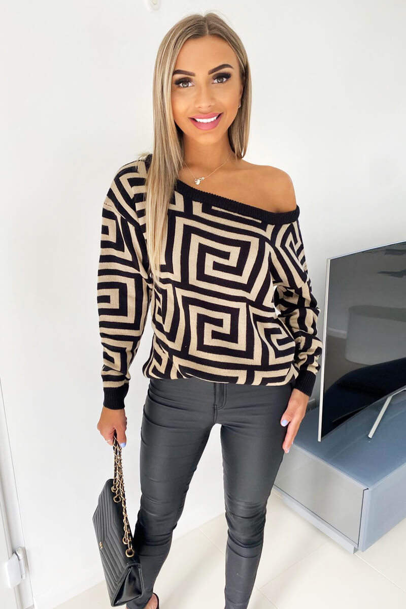 Stone Geo Off The Shoulder Knitted Jumper
