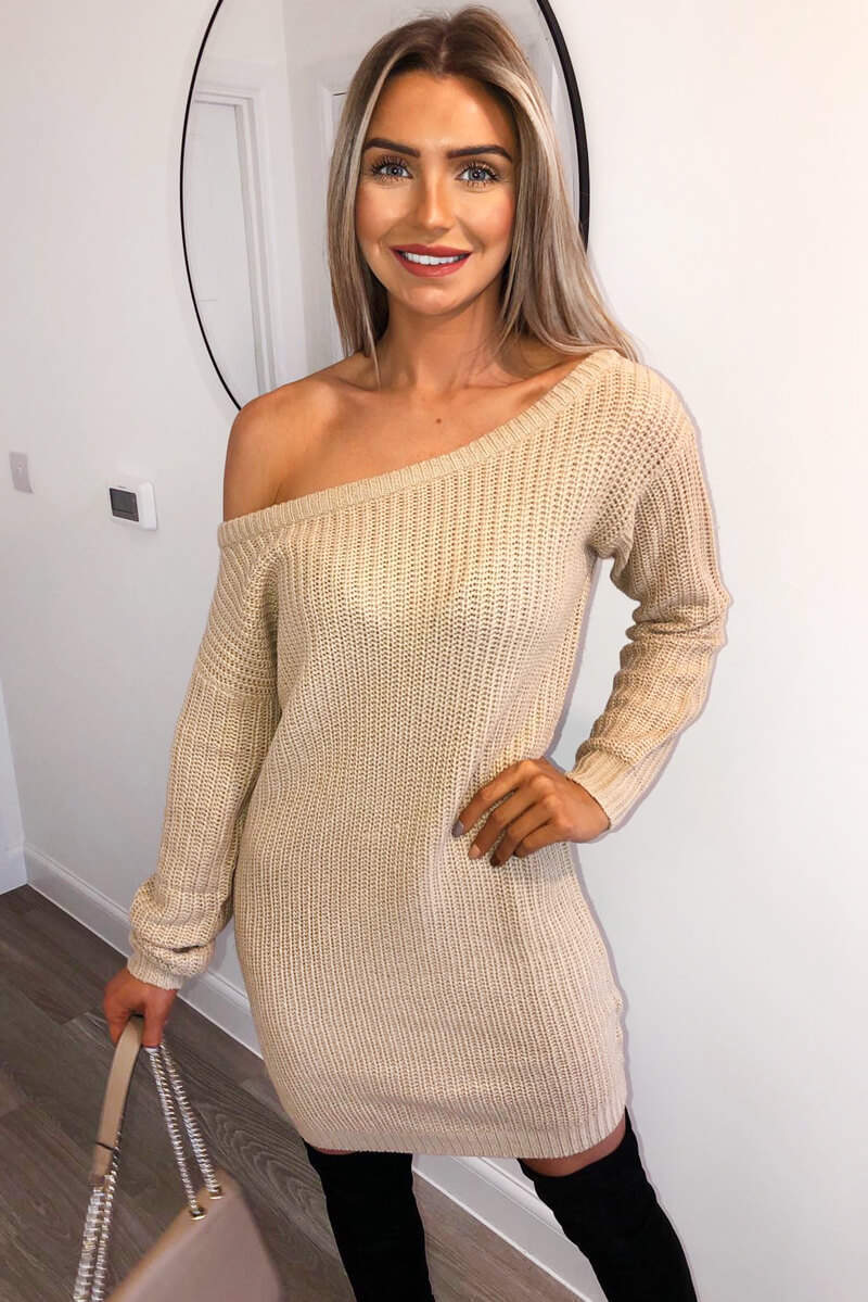 Stone Off The Shoulder Knitted Dress