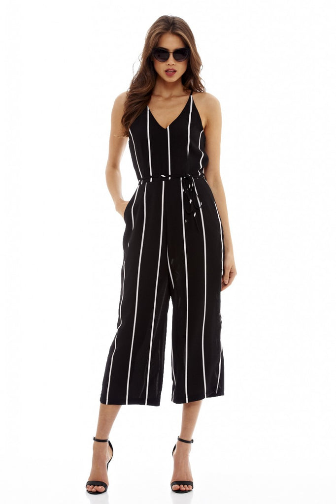 Black Striped Culotte Jumpsuit with Tie Waist