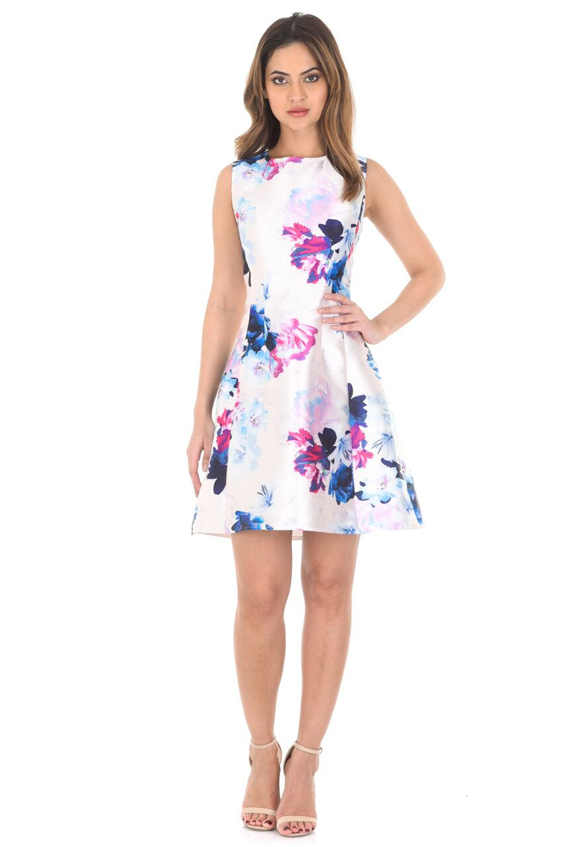 Structured Floral Printed Skater Dress