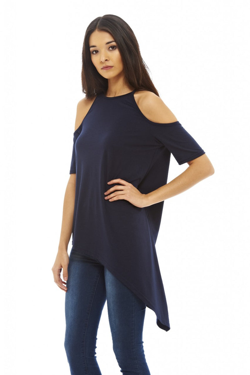 Asymmetric Cut Out Shoulder Top