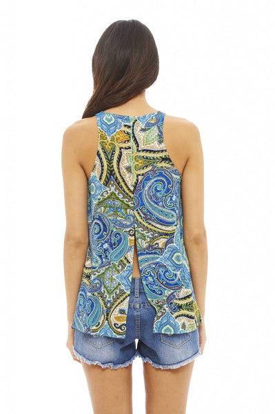 Multi Printed Split Back Top