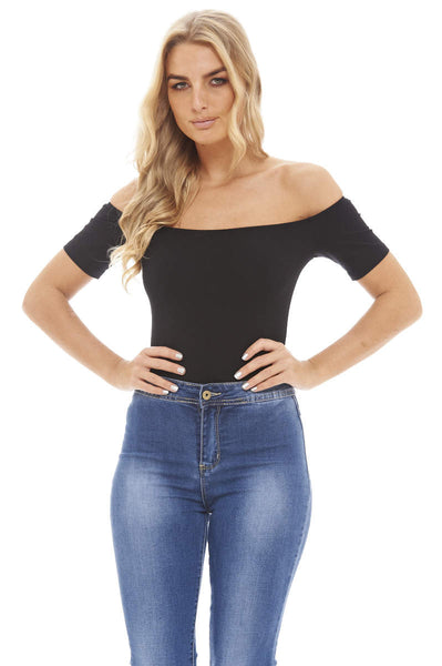 Black Off The Shoulder  Bodysuit