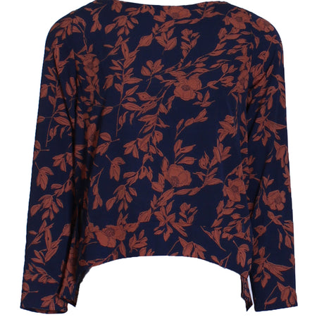 Navy Floral Frill Top