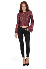 Plum Sheer Lace Long Sleeve Top