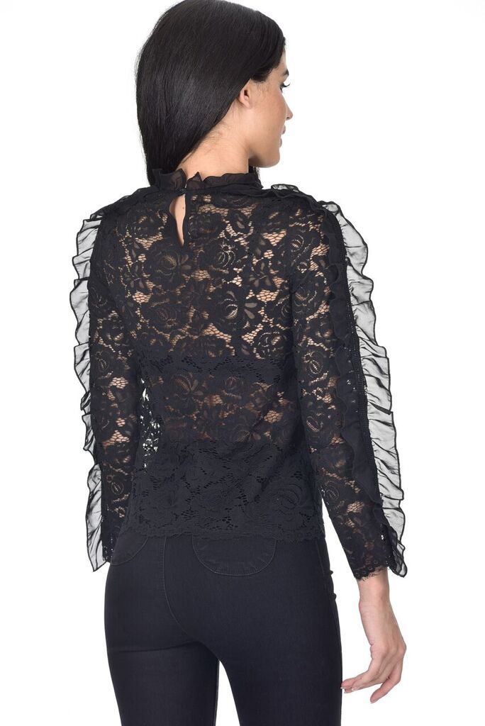 Black High Neck Lace Ruffle Detail Top