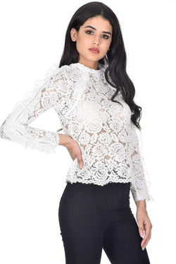 Cream High Neck Lace Ruffle Detail Top