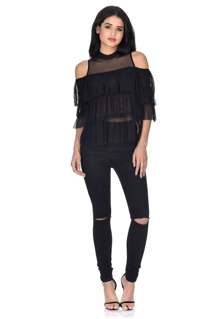 Black Frill Detail Sheer Top