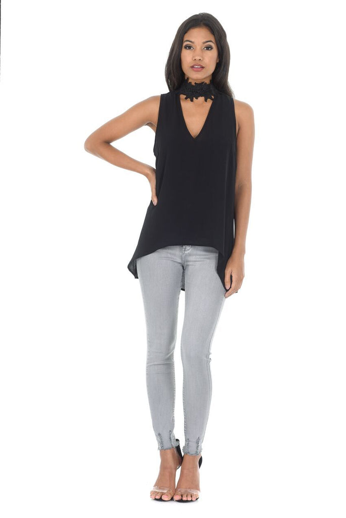 Black Crochet Choker Swing Top