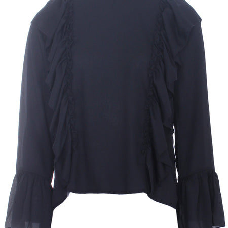 Black Frill Long Sleeved Top