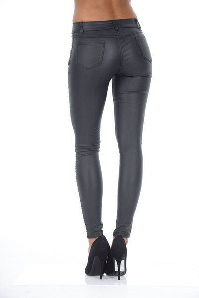 Black Ribbed Leather Look Skinny Jeans
