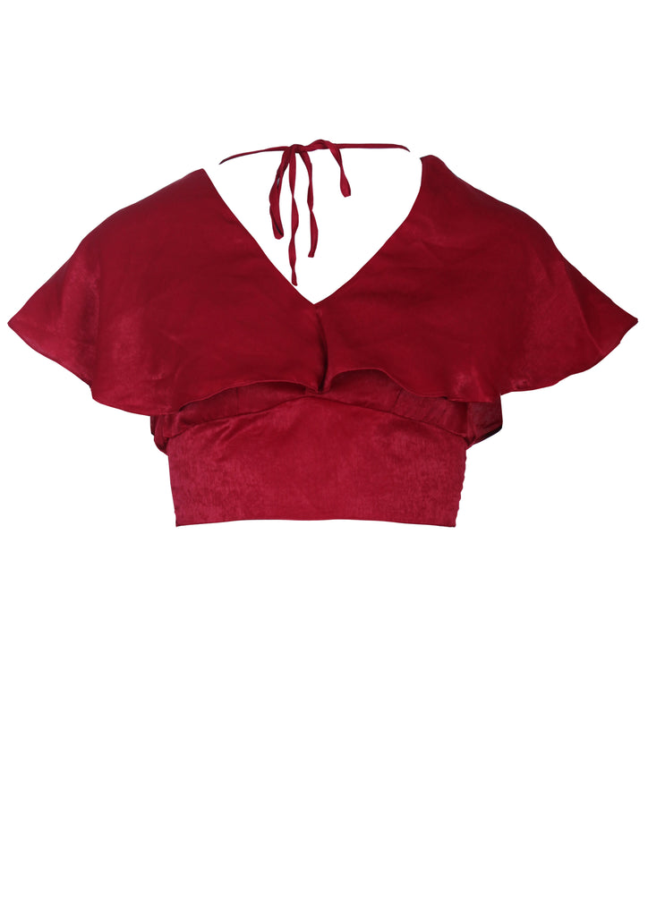 Red Silky Cropped Top