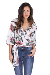 Cream Floral Wrap Top