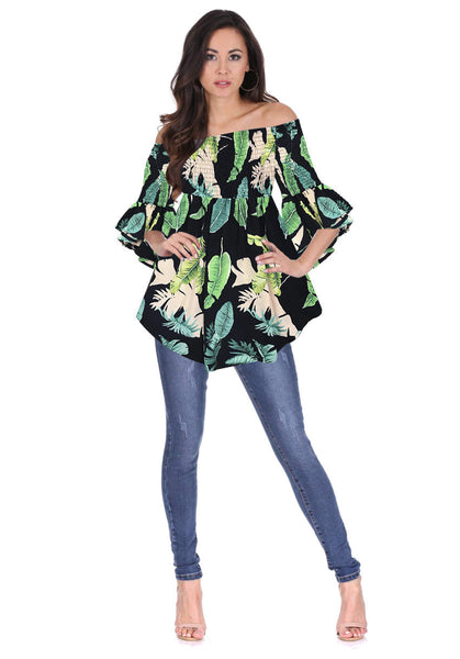 Navy Leaf Print Bardot Top
