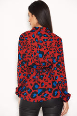 Red Animal Print Waist Tie Blouse