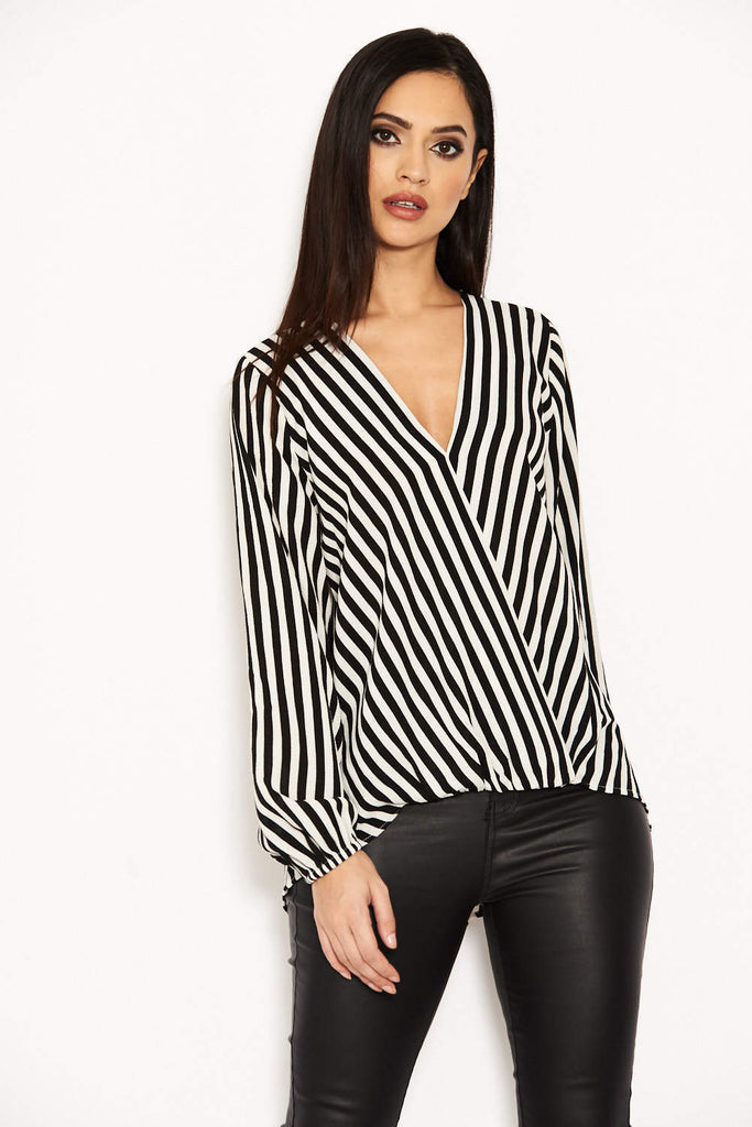Striped Wrap Front Top
