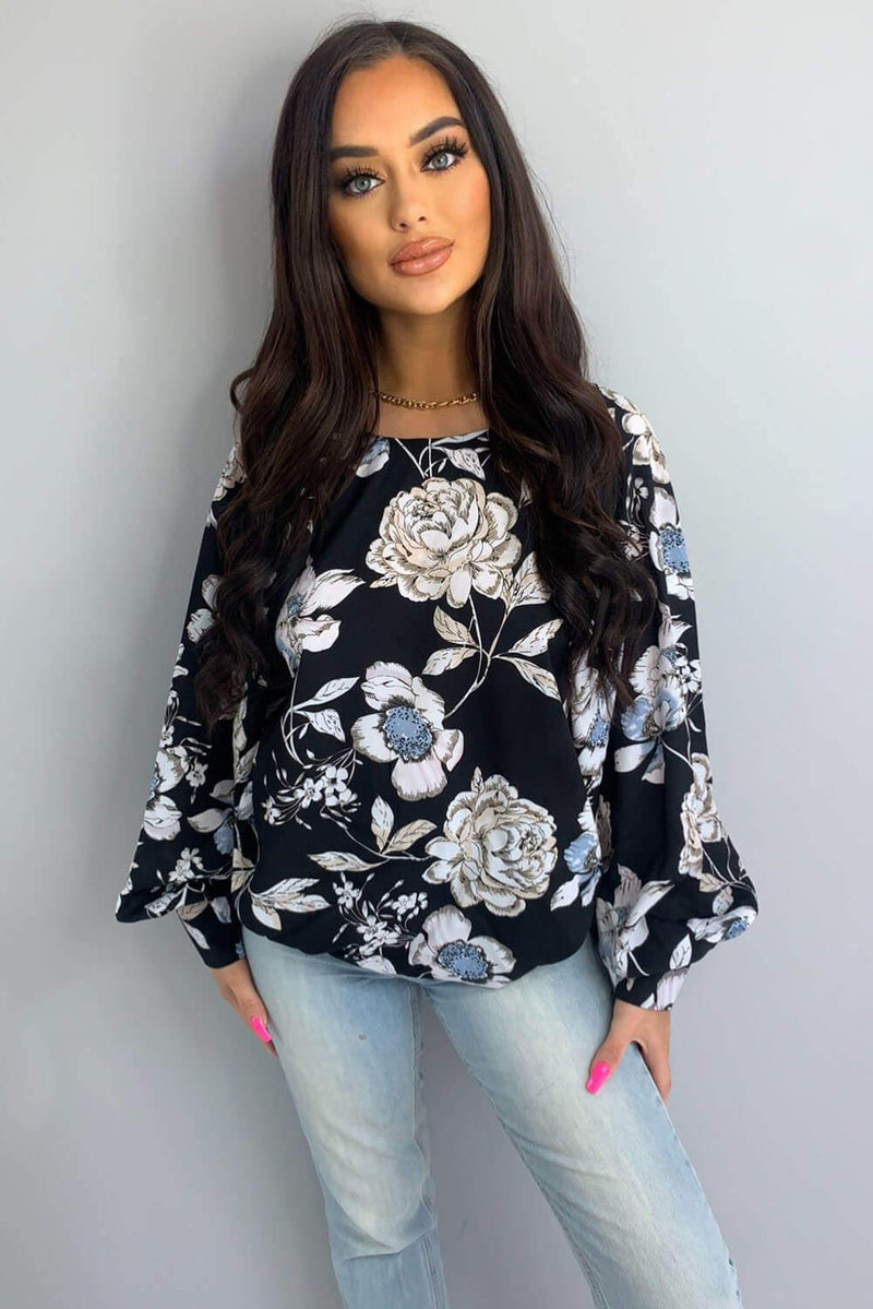 Black Floral Wide Sleeve Blouse