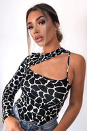 Black Printed One Shoulder Cut Out Bodysuit