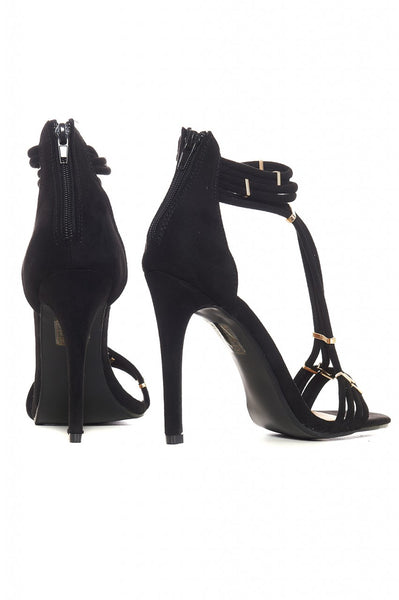 Black T-Bar Suede Heels