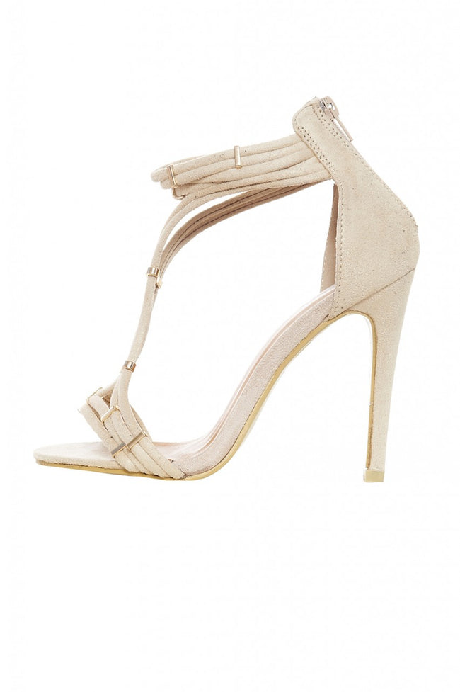 Cream T-Bar Suede Heels