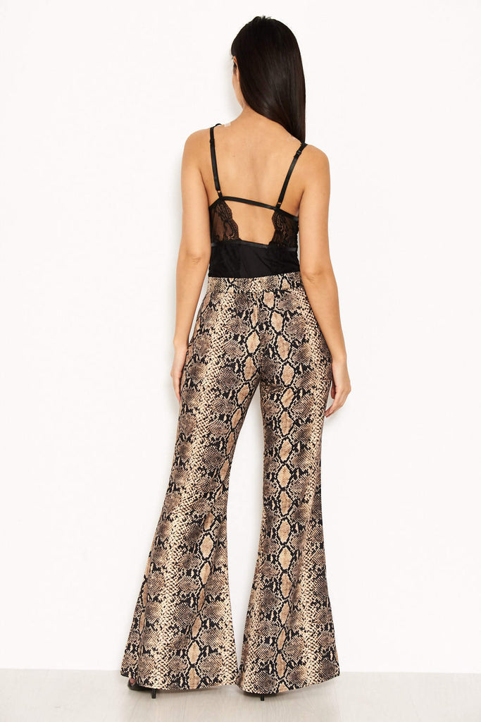 Snake Print Flared Trousers