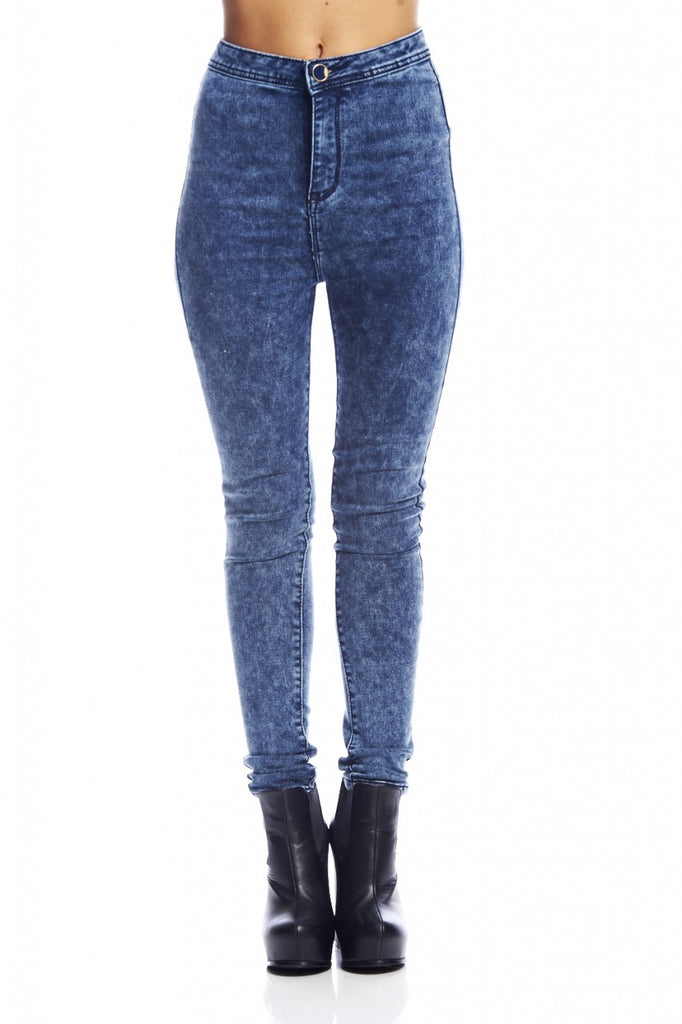 High Waist Blue Fitted Jeans