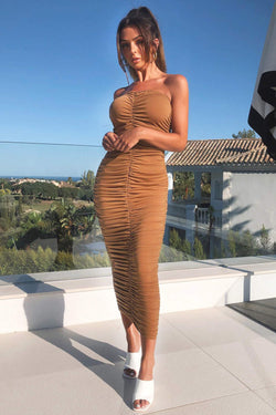 Tan Strapless Ruched Bodycon Midi Dress