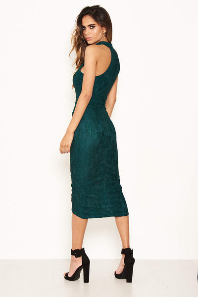 Teal Lace Wrap Dress