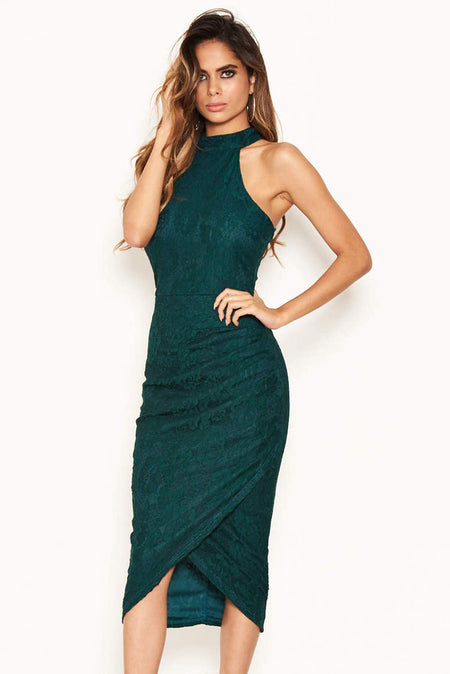 Navy Notch Front Lace Detail Fishtail Dress