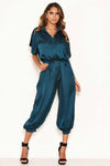 Teal Button Up Jumpsuit
