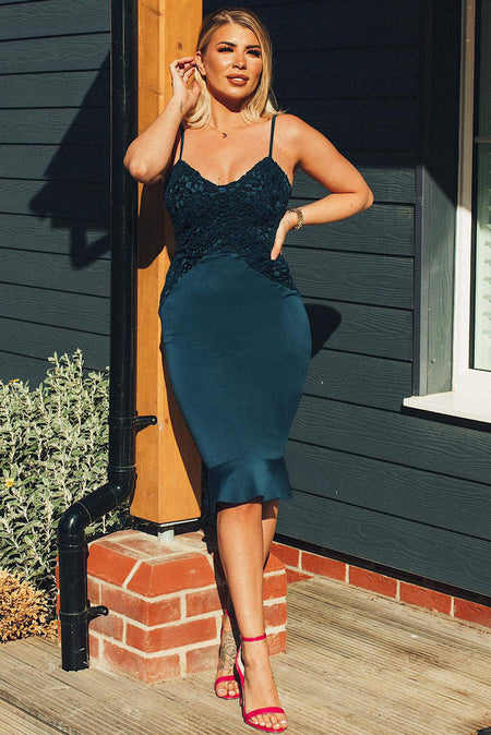 Teal Tie Waist Midi Dress
