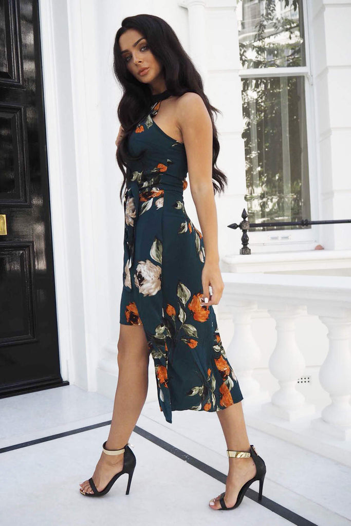 Teal Floral Midi Wrap Dress