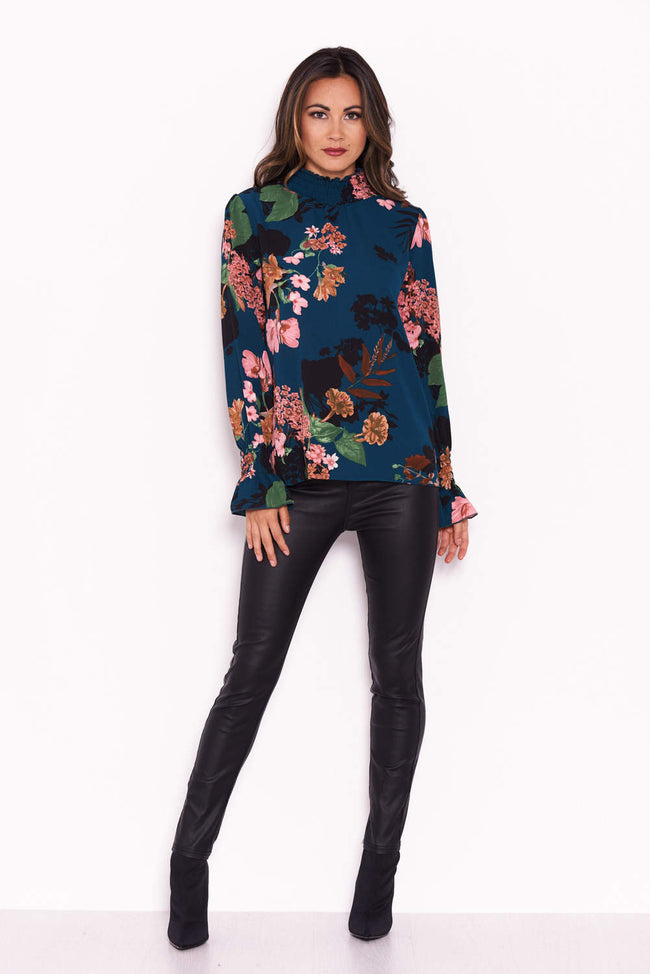 Teal Floral Ruched Sleeve And Collar Blouse