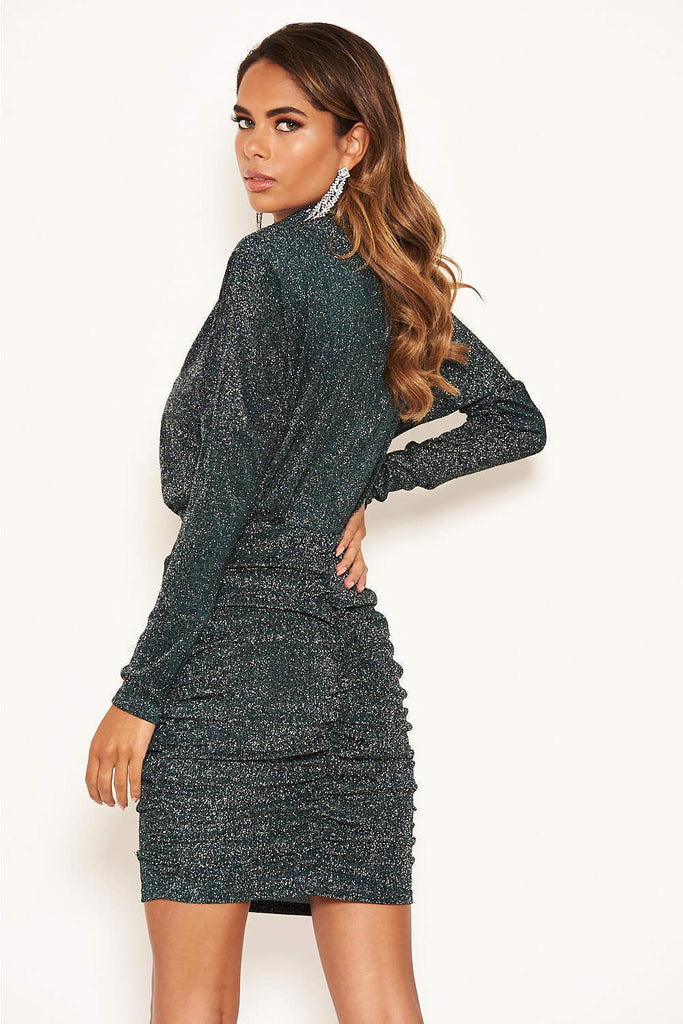 Teal High Neck Ruched Sparkle Dress