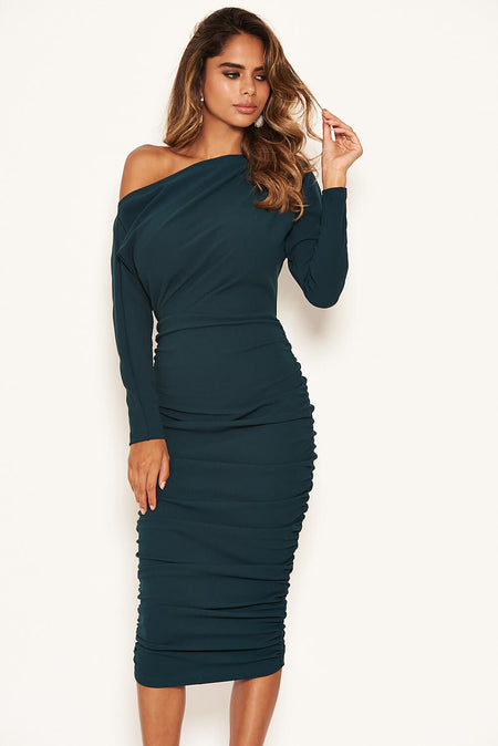 Colbalt Ruched Strappy Bodycon Midi Dress