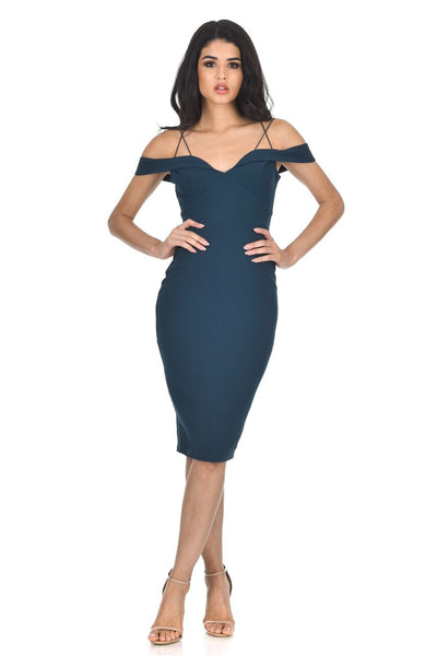 Teal Off The Shoulder Bodycon dress