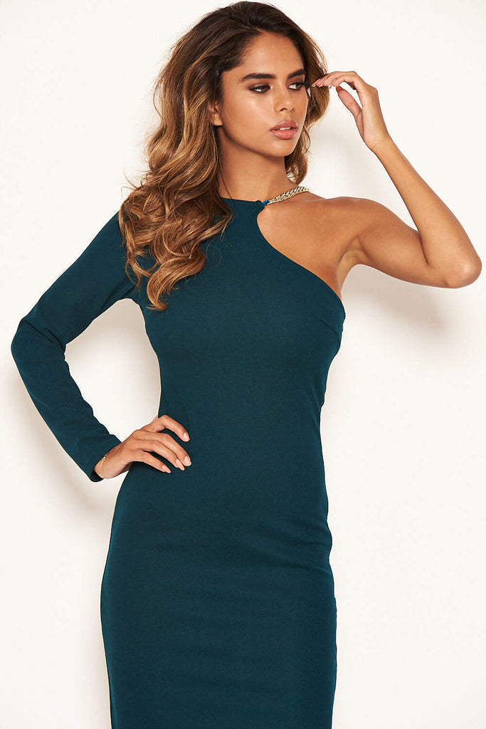 Teal One Shoulder Midi Dress With Chain Detail