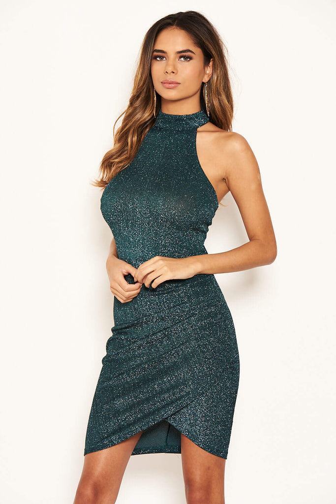 Teal Sparkle High Neck Ruched Dress