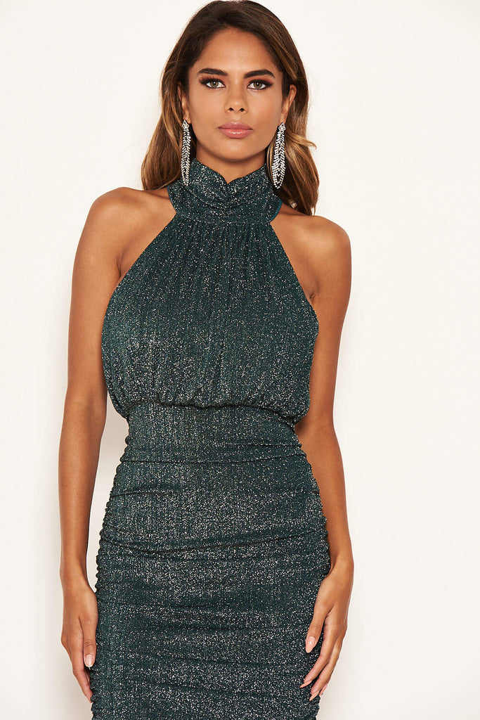 Teal Sparkle High Neck Ruched Midi Dress