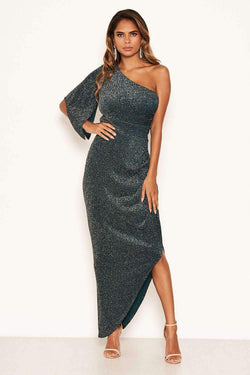 Teal Sparkle One Shoulder Dress