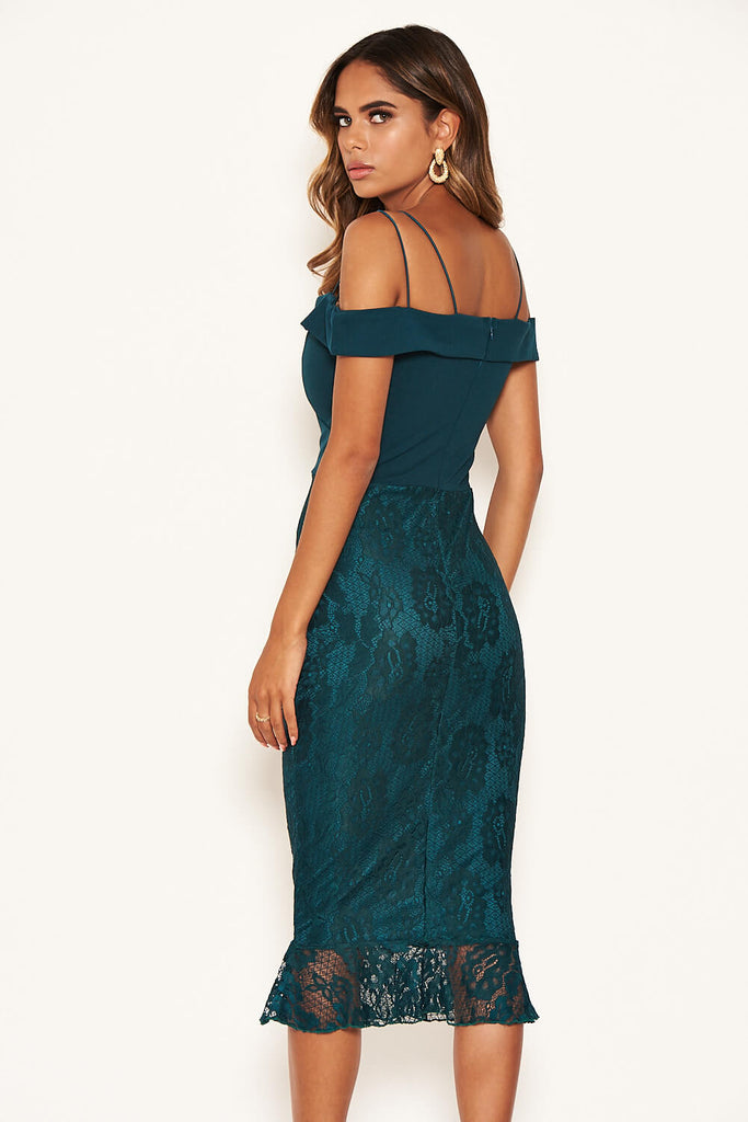 Teal Strappy Lace Skirt Frill Hem Dress