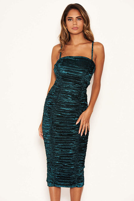 Blue Velvet Ruched Bodycon Dress