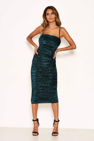 Teal Velvet Ruched Bodycon Dress