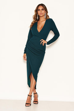 Teal Wrap Bodycon Ruched Dress
