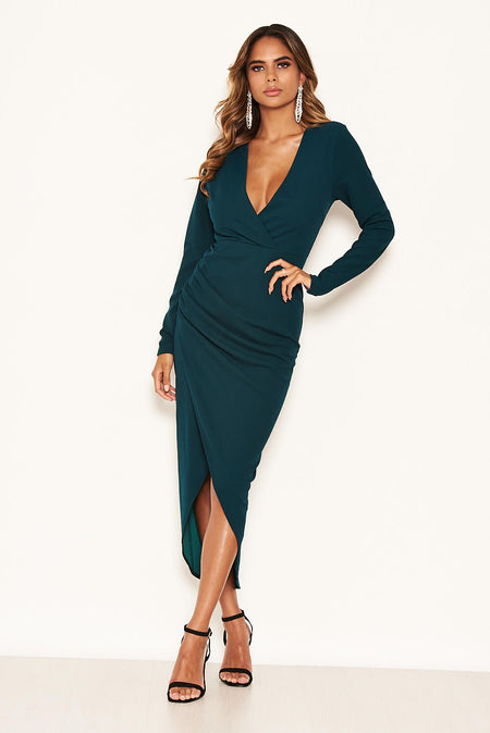 Navy Strappy Off The Shoulder Side Split Maxi Dress