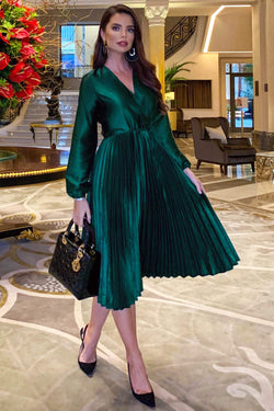 Teal Wrap Pleated Satin Dress
