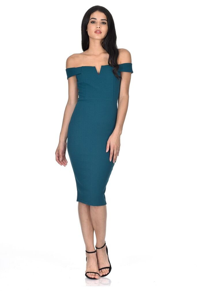 Teal Bardot Bodycon Dress